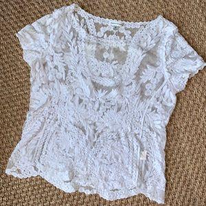 John Paul Richard White Sheer Embroidered Blouse